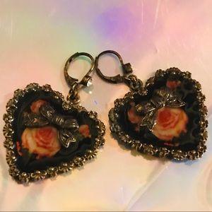 Betsey Johnson Jewelry - Rose heart vintage Betsey Johnson earrings love